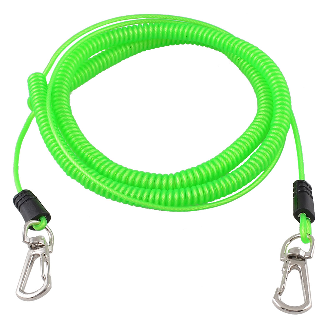 8M Contractility Stretchy Soft Plastic Coiled Fishing Lanyard Rope Green