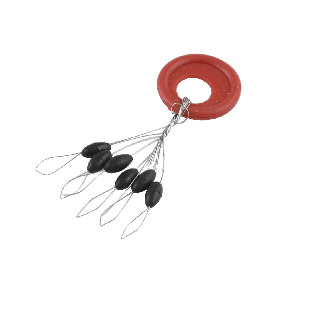 13 Pcs 6 in 1 Black Rubber Oval Stop Bead Red Ring Fishing Bobber Stopper