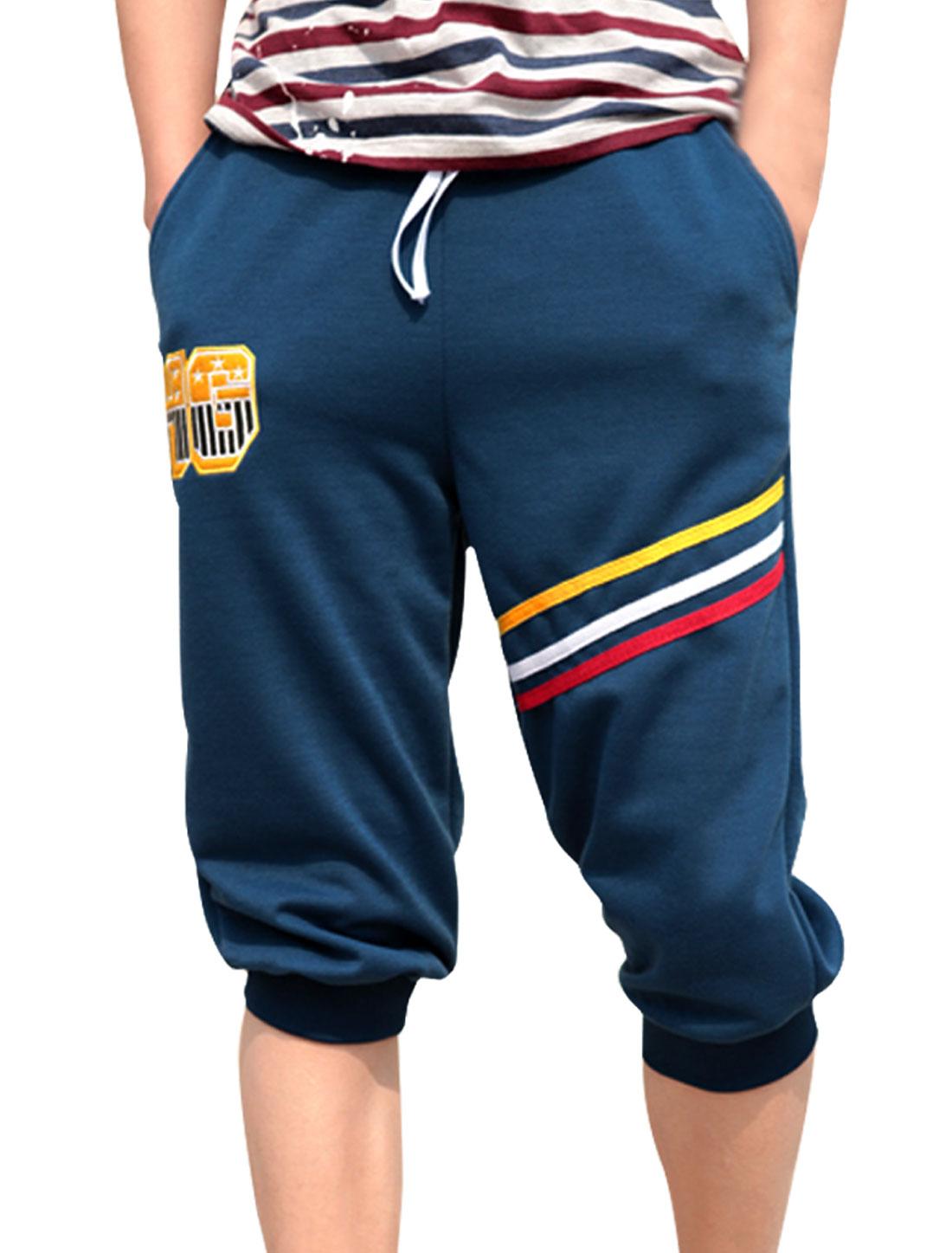 Mens Navy Blue Korea New Fashion Drawsring Waist Cropped Pants W31