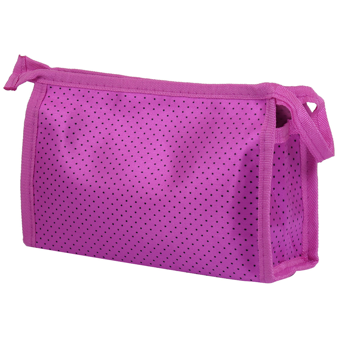 Zipper Closure Makeup Case Cosmetic Bag Fuchsia Black for Women Lady