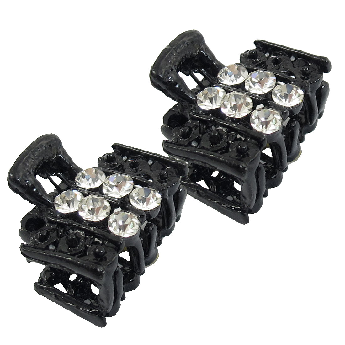 Bling Rhinestone Accent Butterfly Shape Black Plastic Hair Clip Claw Clamp 2pcs