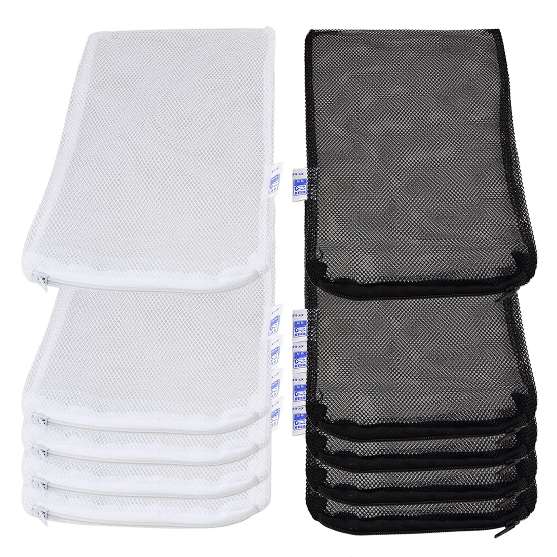 10 Pcs Zippered 210mmx140mm Fishing Isolation Net Bags Black White for Fish Tank