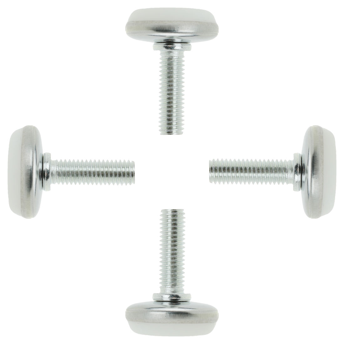 Screw On Type Furniture Glide Leveling Foot Adjuster 7.5mmx28mmx32mm 4 Pcs