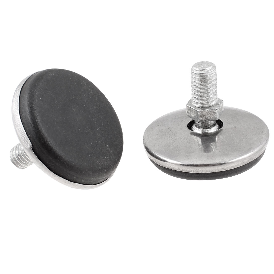 2 Pcs Metal Threaded Rod Round Plastic Base Leveling Foot 8mmx31mmx36mm
