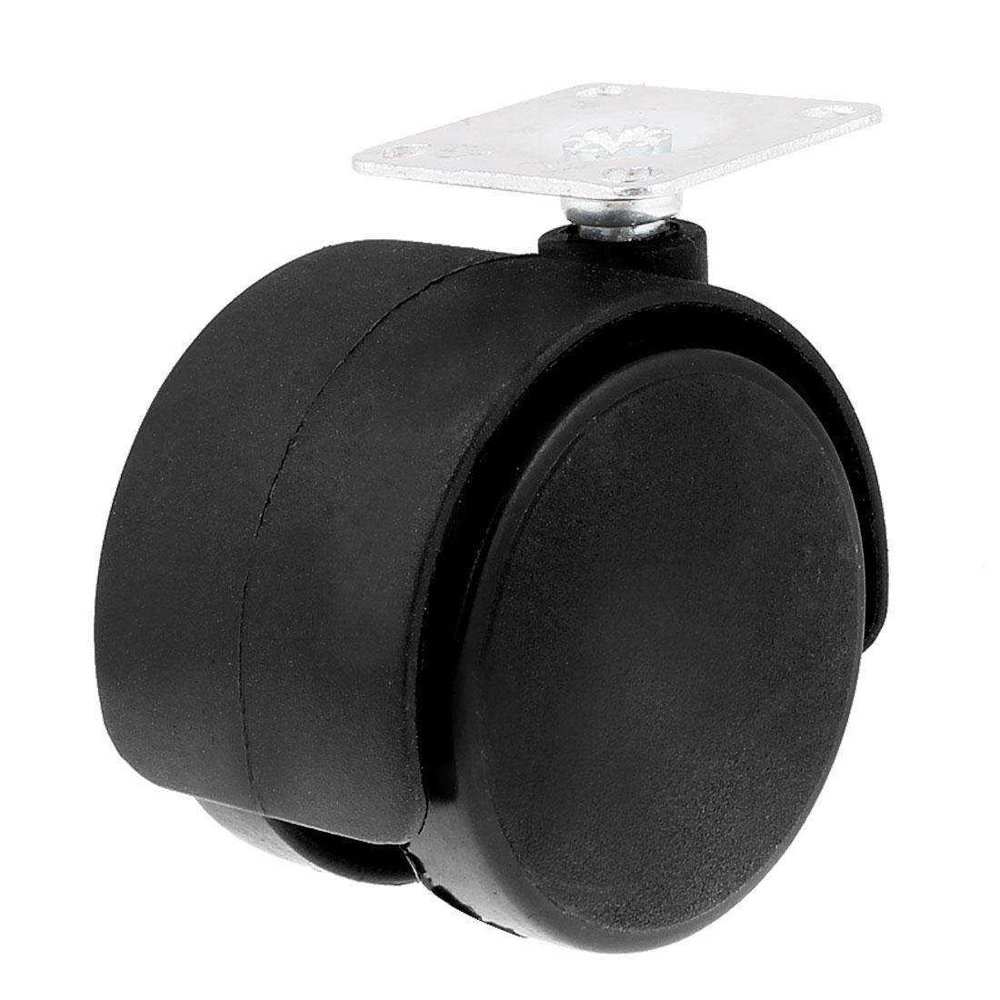 "Office Chair Metal Top Plate Twin Wheel Swivel Caster 1.9"" Black Silver Tone"