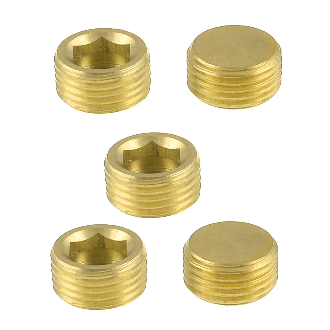 "5 Pcs Brass Internal Hex Head Socket 1/2"" PT Thread Pipe Connector Fitting"