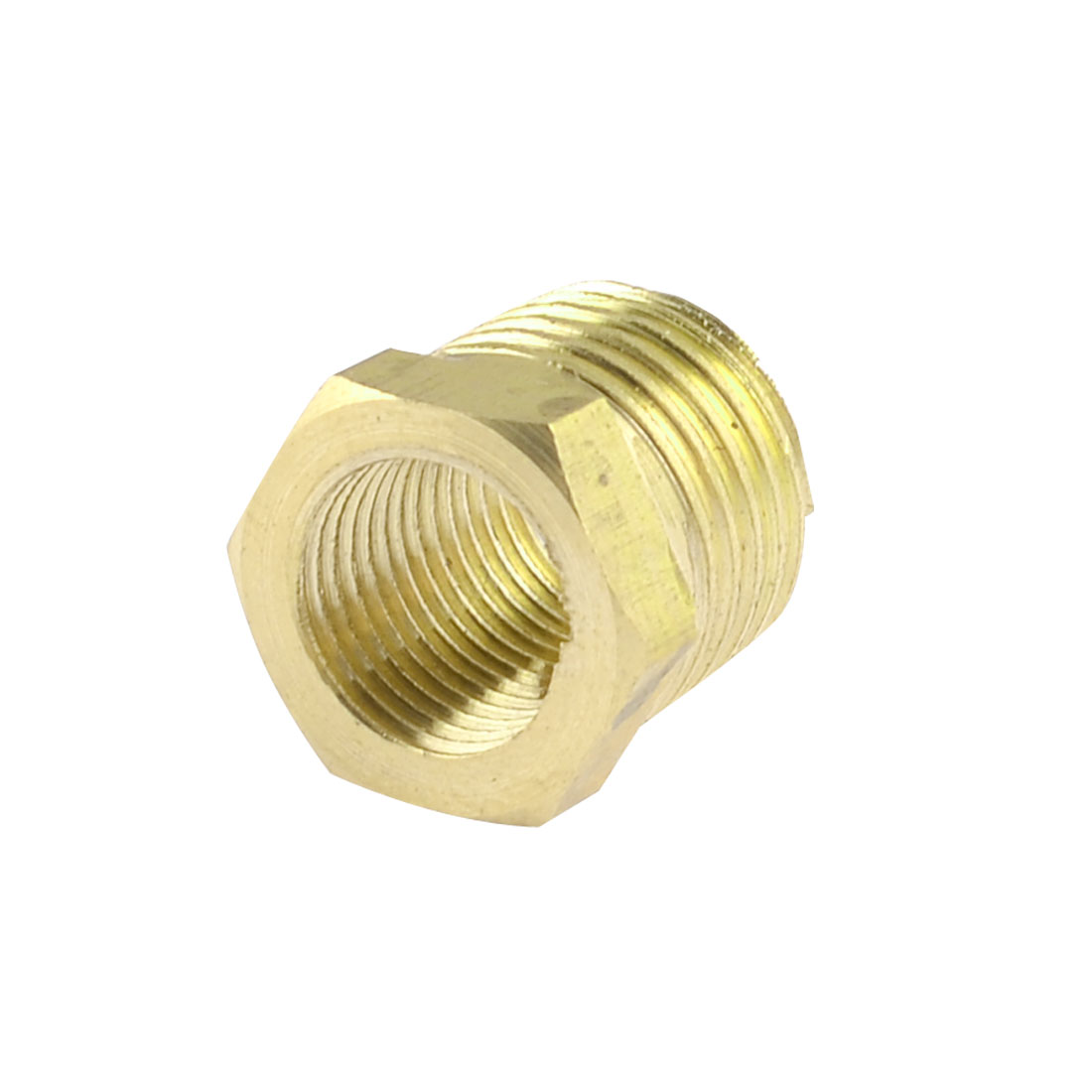 Hose Fitting Connector 12mm x 9mm Thread Brass Hex Bushing Gold Tone