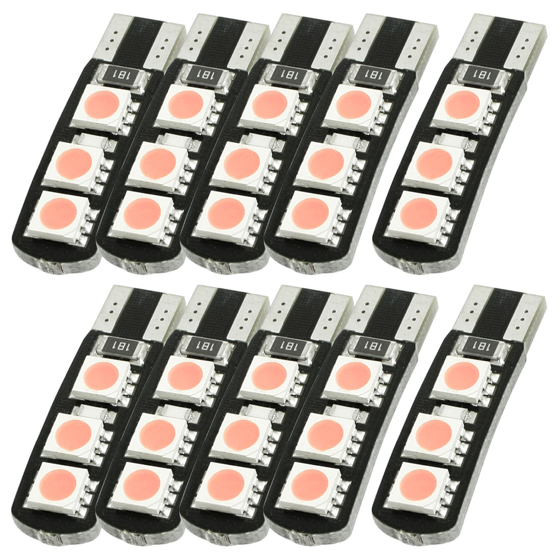 10 Pcs T10 W5W Pink 6 5050 SMD LED Canbus Error Free Car light Bulb