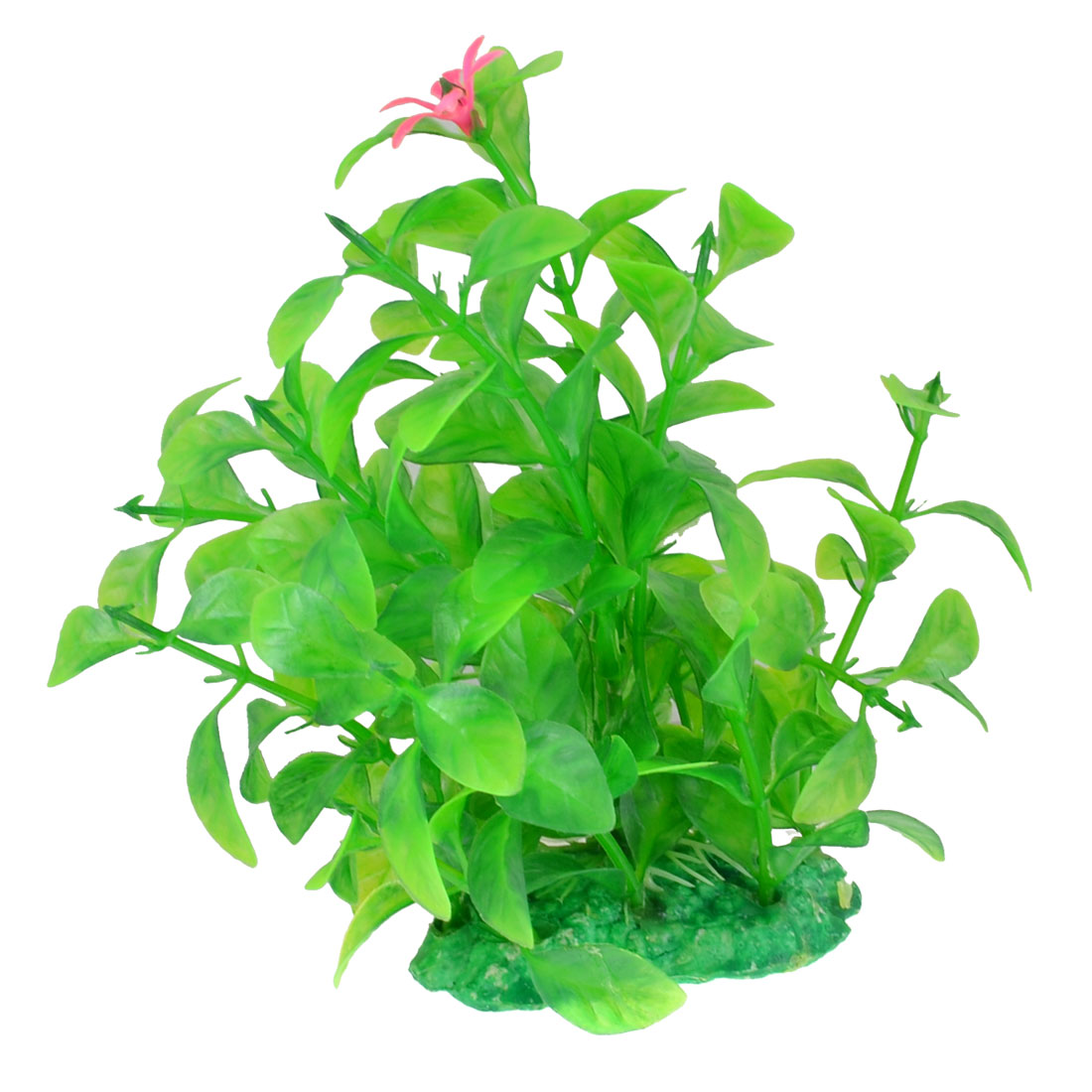 Flower Accent Green Plastic Water Plants for Fish Tank