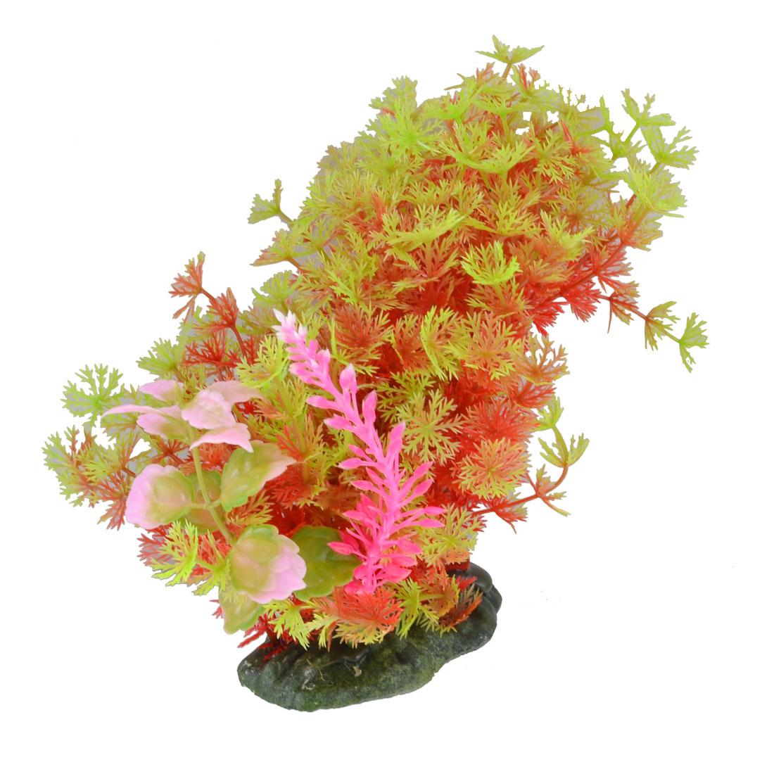 "Aquarium Fish Tank Red Green Emulational Plastic Grass Plants Decor 5.1"""
