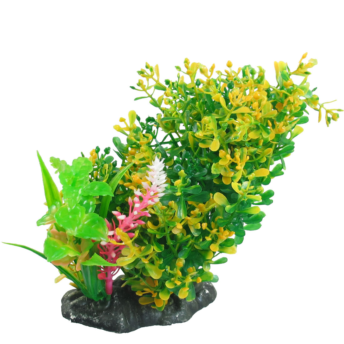 "6"" Height Aquarium Fish Tank Yellow Green Plastic Grass Plants Ornament"