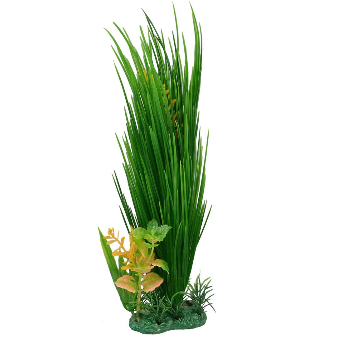"""Aquarium Tank Plastic Orange Green Aquatic Plant Decor 11.4"""""""