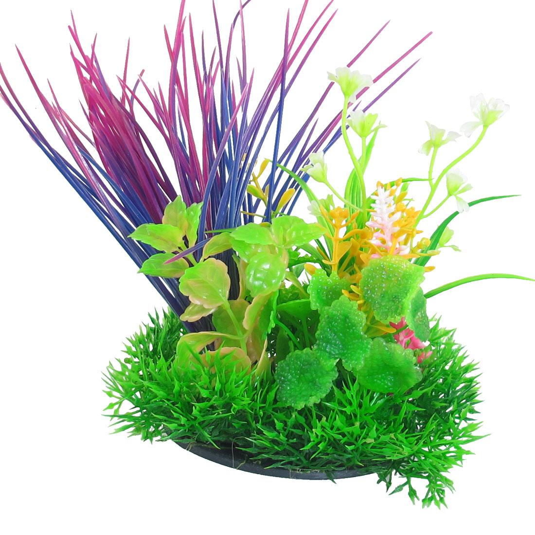 """6.7"""" Height Aquarium Fish Tank Green Purple Plastic Grass Ornament"""