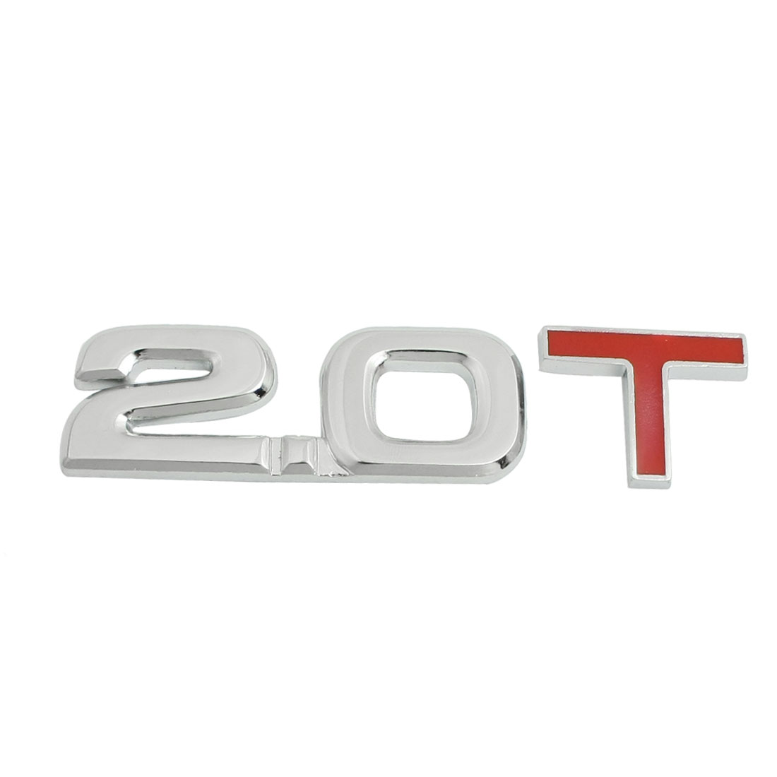 Vehicle Cars Alloy 2.0T Decal Emblem Badge Sticker Silver Tone Red