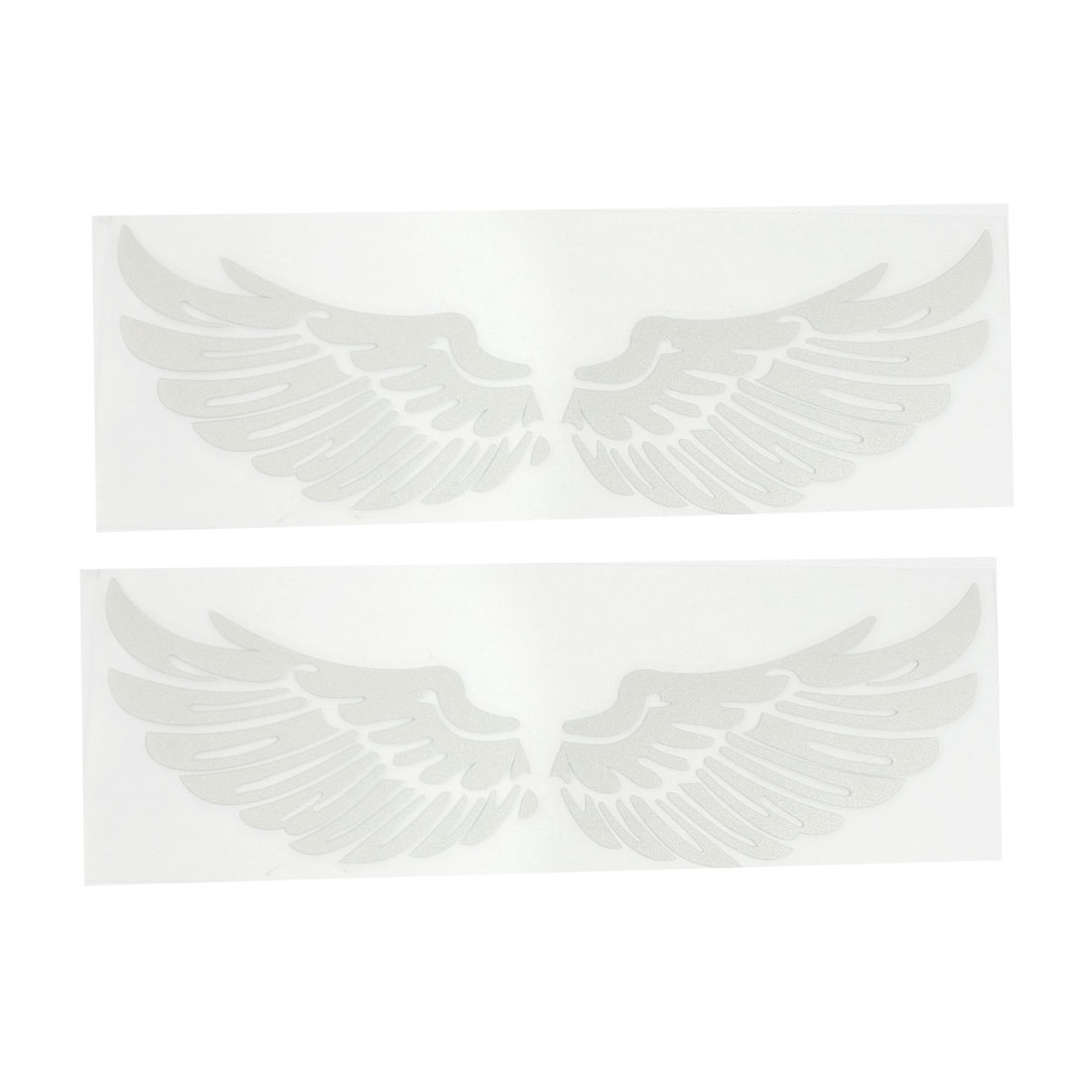 2 Pcs Silver Tone Adhesive Angel Wing Wall Truck Car Window Sticker Decal