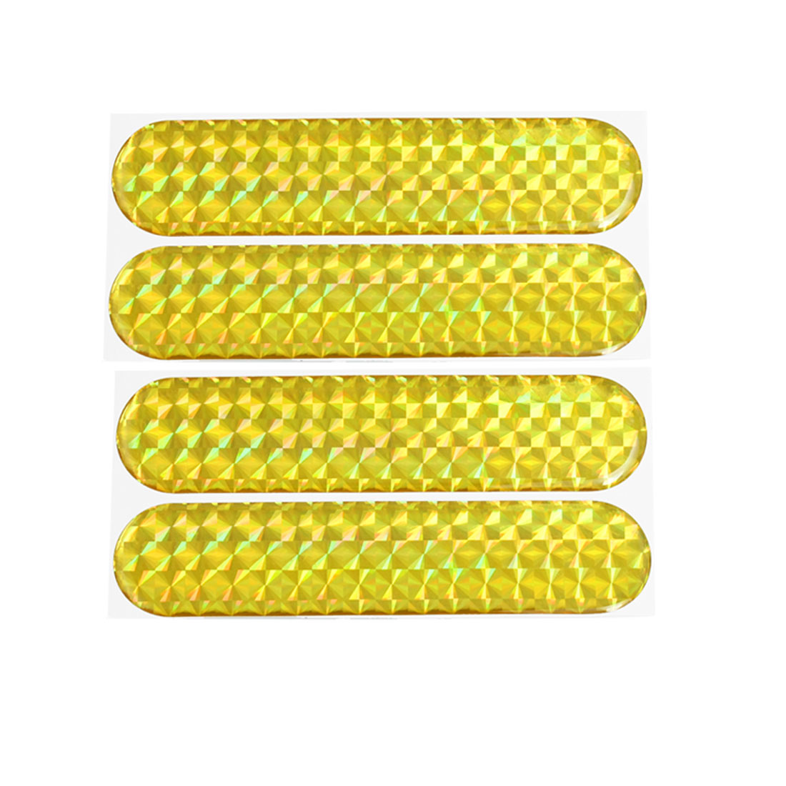 4 Pcs Self Adhesive Plastic Yellow Reflective Sticker for Auto