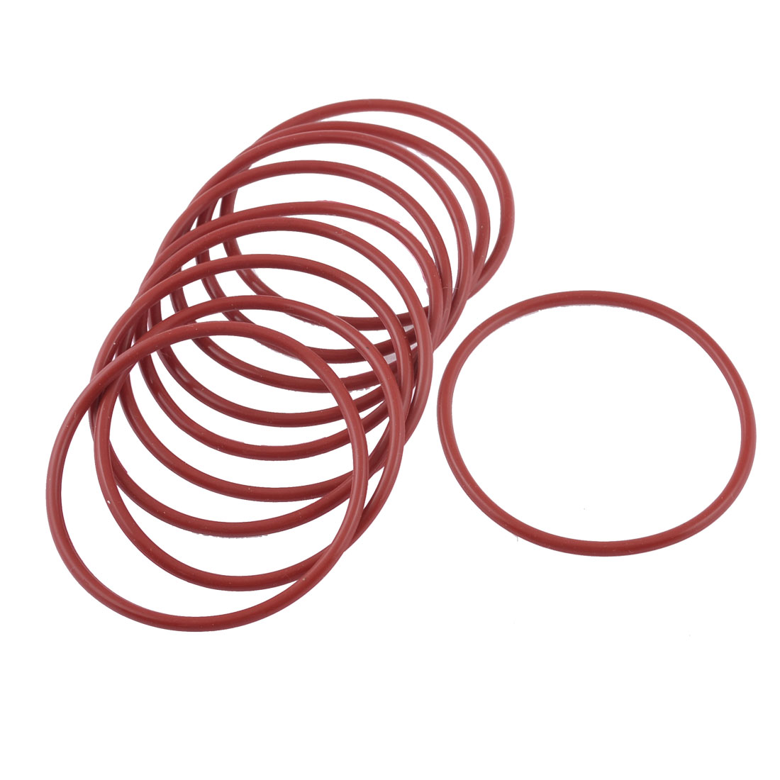 10 Pcs Red Rubber 53mm x 2.5mm x 48mm Oil Seal O Rings Gaskets Washers