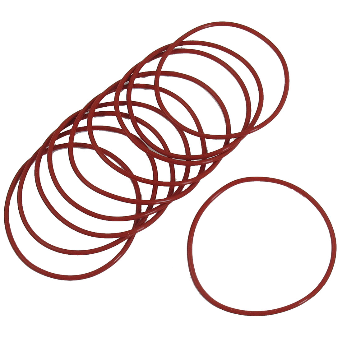 75mm x 70mm x 2.5mm Red Rubber O Shaped Rings Oil Seal Gasket Washer 10 Pcs