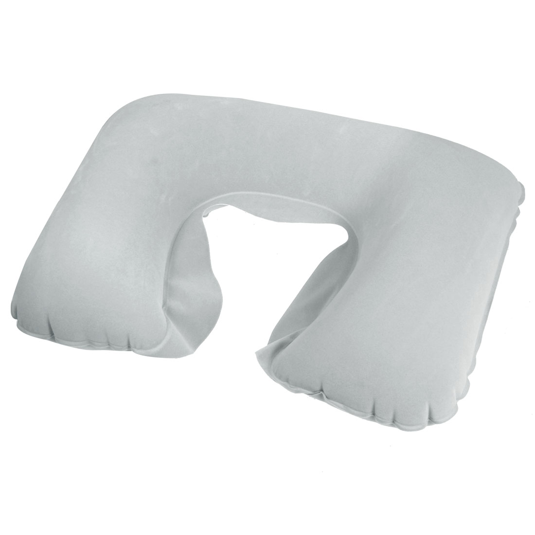 Gray Inflatable Soft Flannel Surface U Shape Neck Pillow for Travel
