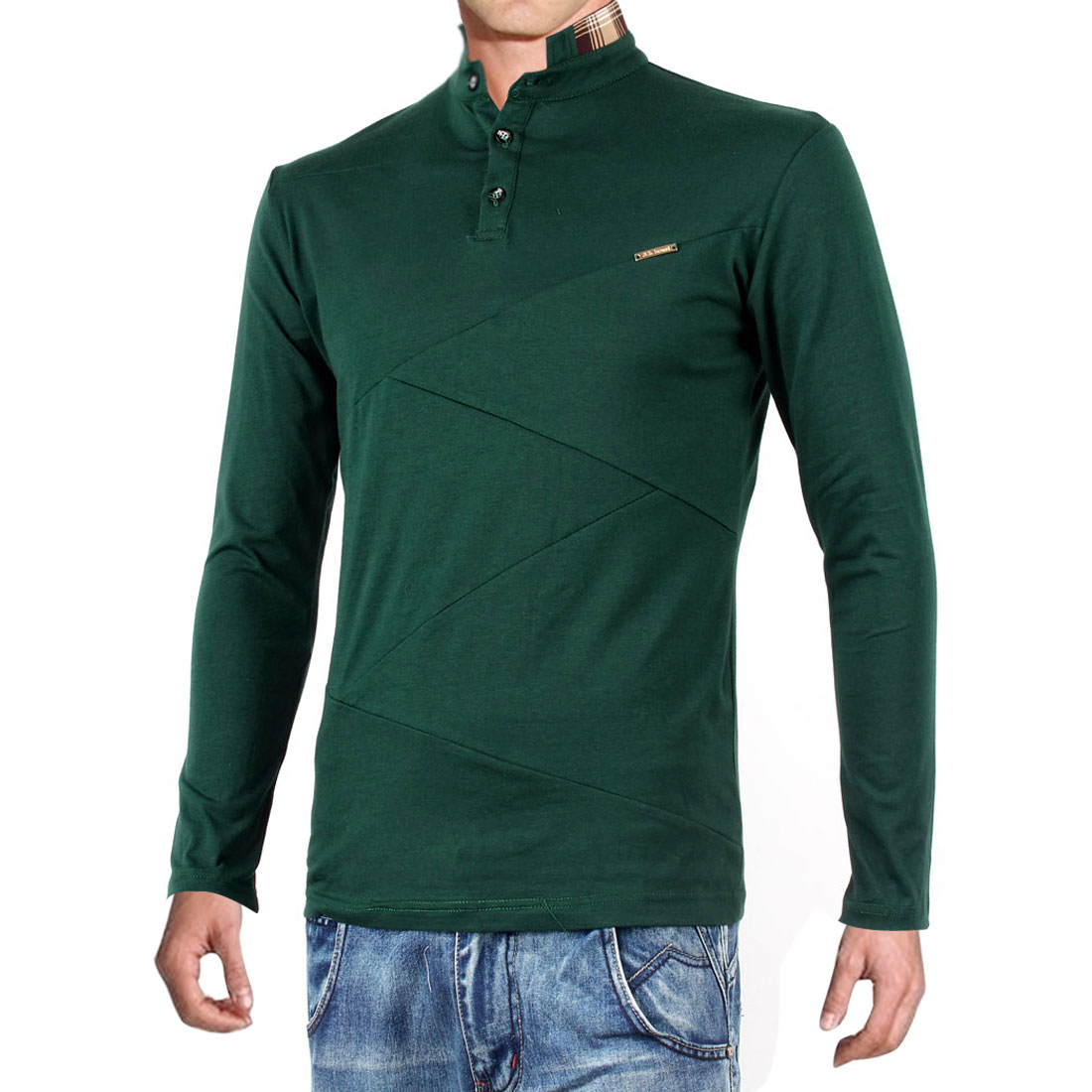 Mens Dark Green Stand Color Button Closure Upper Pullover Shirt M