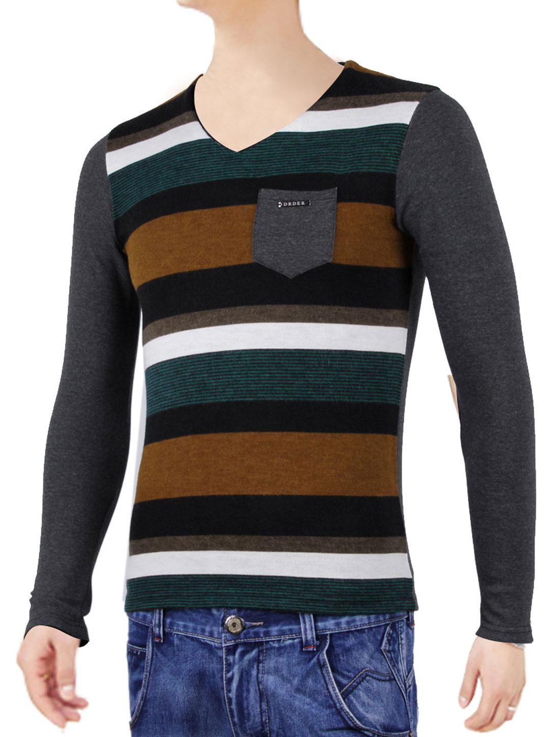 Men Dark Gray Long Sleeve Bar Striped Pulover Metal Decor Spring Shirt S
