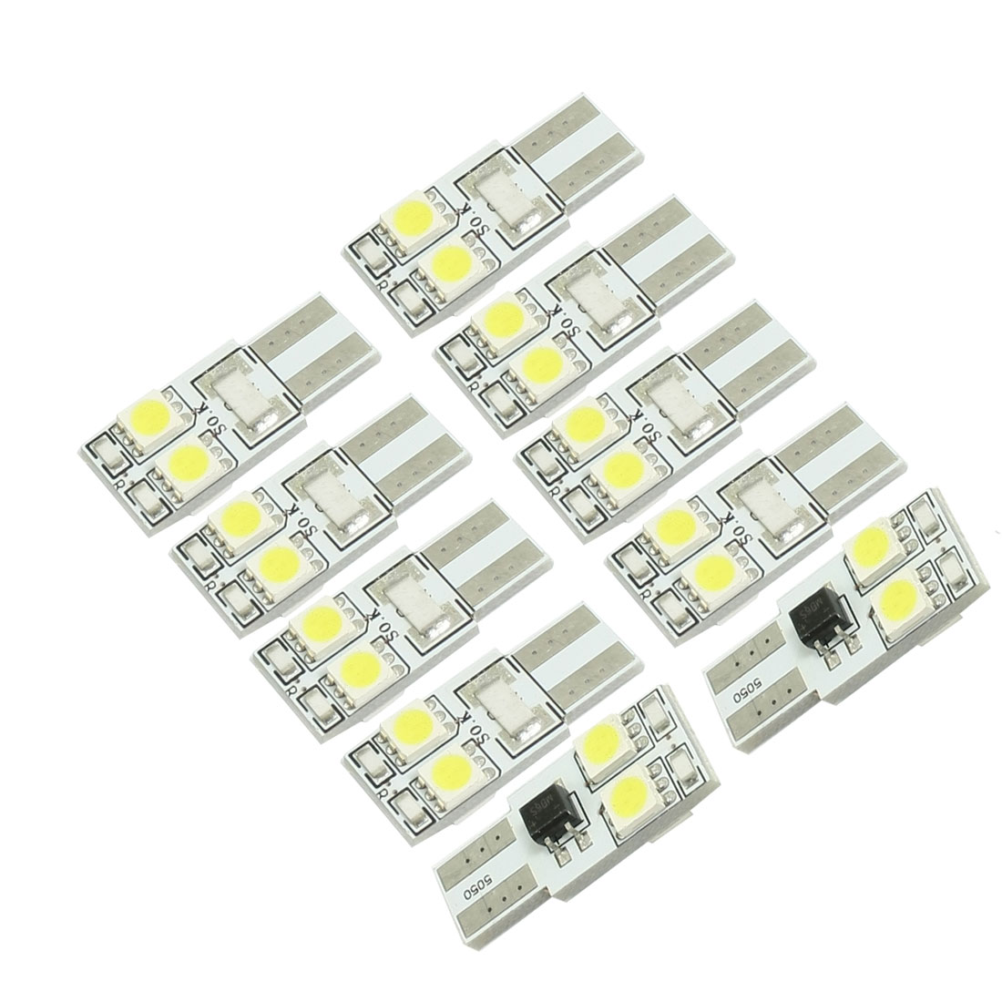 10 Pcs T10 White 5050 SMD 4-LED Canbus No Error Car LED Light DC 12V