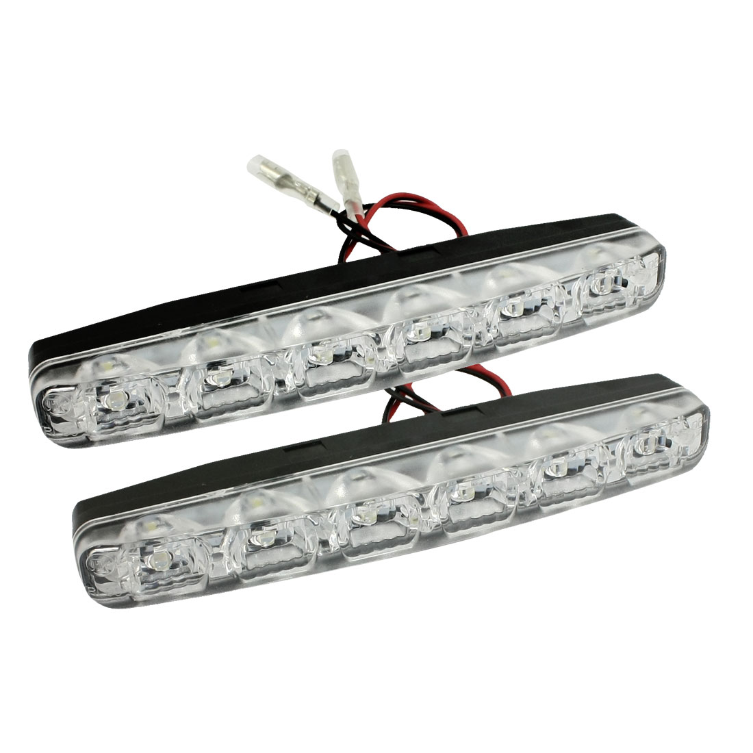2 Pcs 6 LED White DRL Daytime Running Lamp Car Fog Light Headlamp Wire