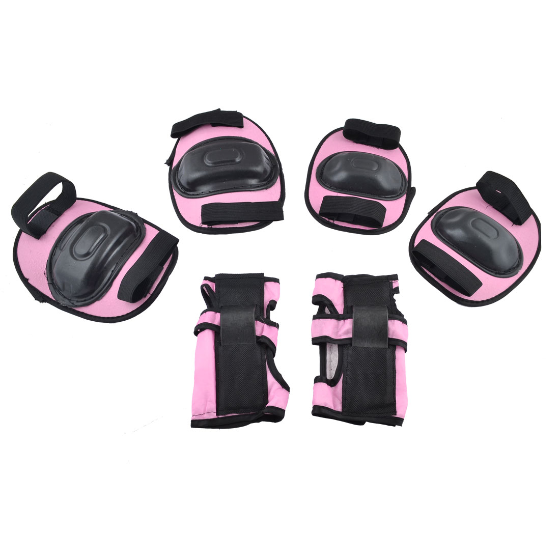 Children Kids Skating Biking Wrist Elbow Knee Pad Mat Pink Black 3 Pairs