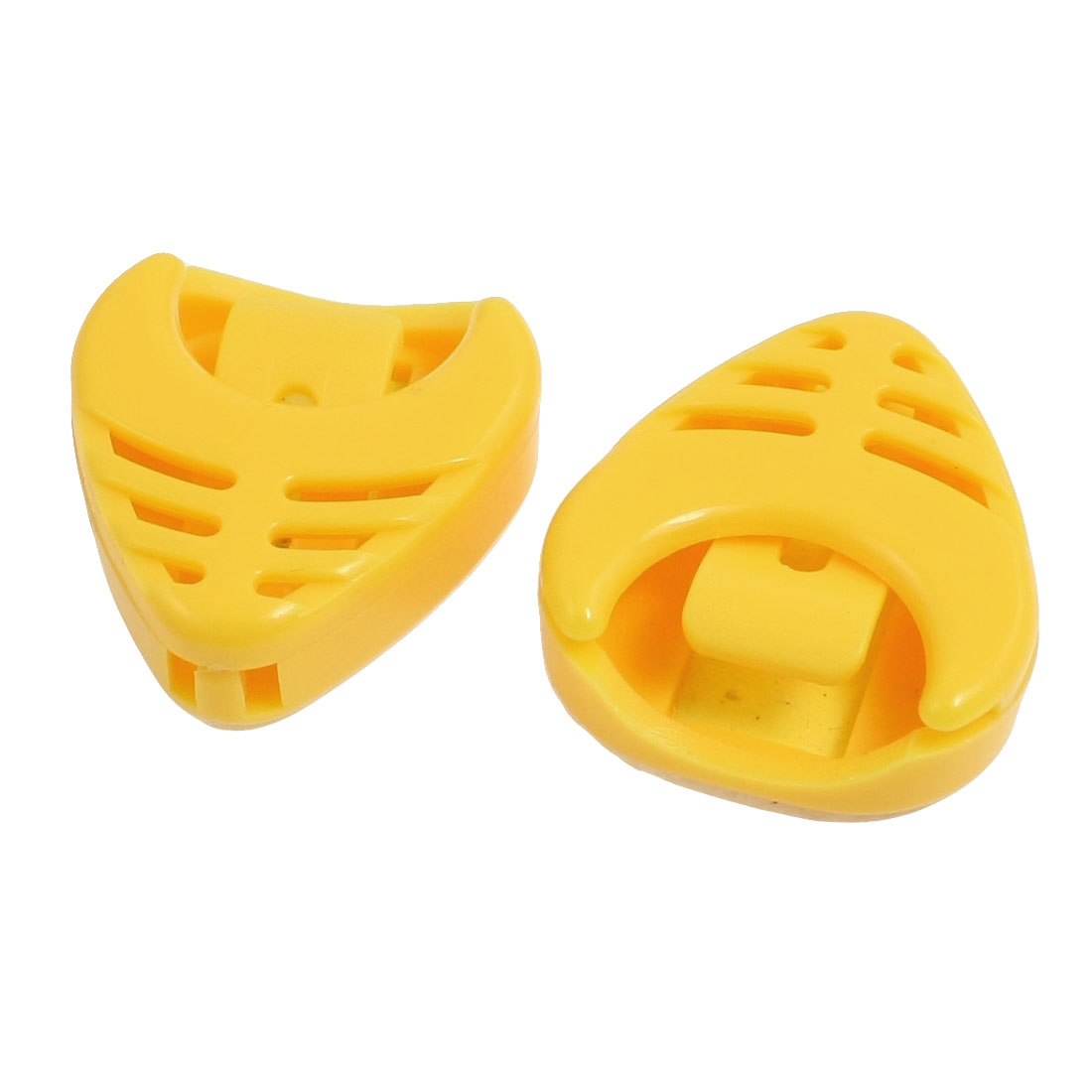 Yellow Self Adhesive Back Guitar Picks Holding Box Holder 2 Pieces