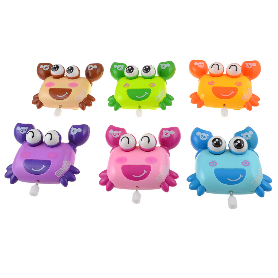 6 Pcs Assorted Color Plastic Cartoon Crab Wind Up Play Fun Toys for Children