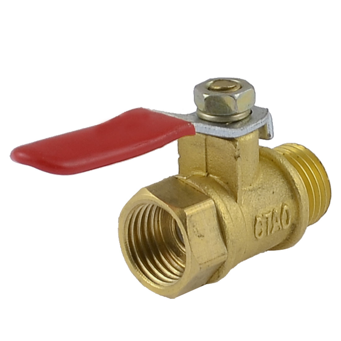 "1/4"" PT Male to Female Thread Red Lever Handle Full Port Brass Ball Valve"