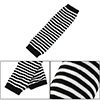 Women Black White Stripe Pattern Thumbhole Fingerless Gloves Elbow Warmers Pair