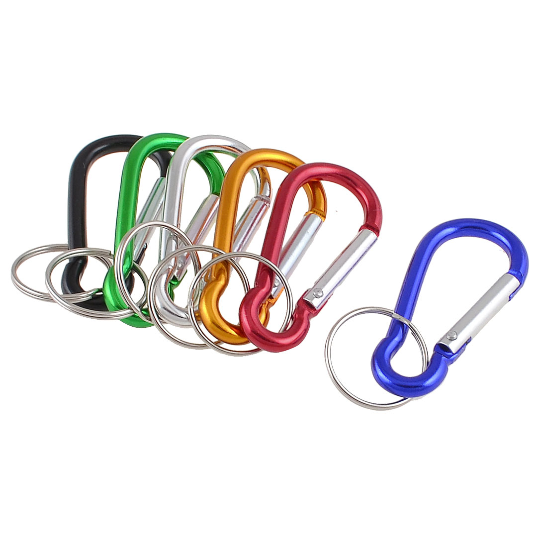 Outdoor Camping Hiking Assorted Color Keychain Keyring Carabiner Hooks 12 Pcs