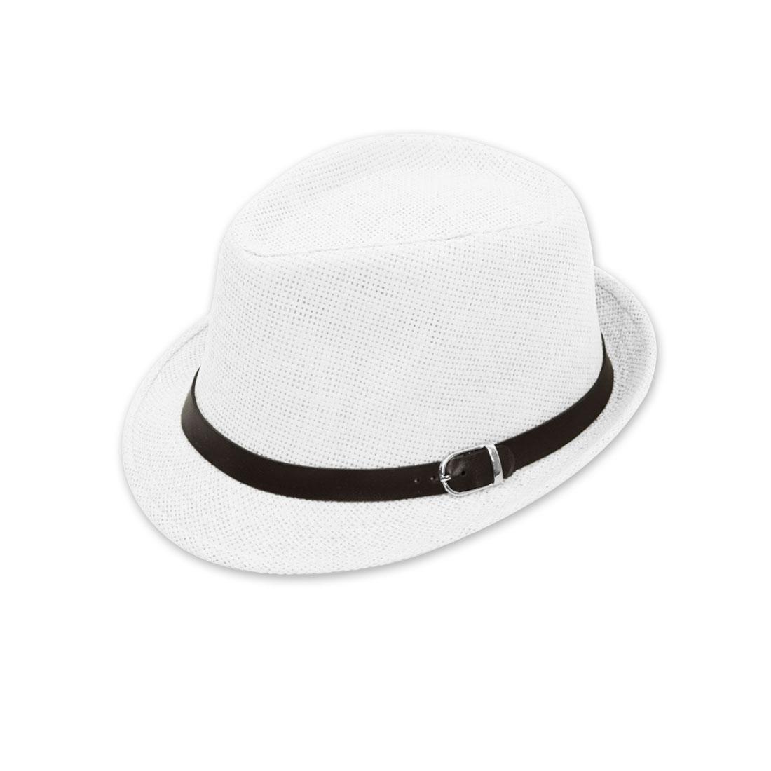 """Unisex White Straw Braided Sunbonnet 1 1/2"""" Width Brim Hat Cap"""