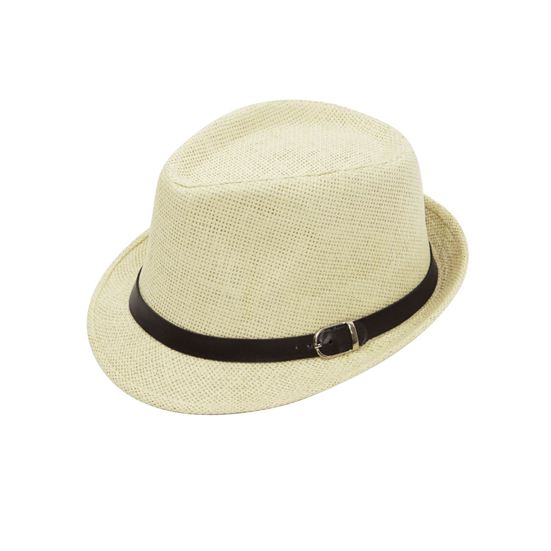 Men Women Beige Braided Straw Weaving Faux Leather Band Decor Hat