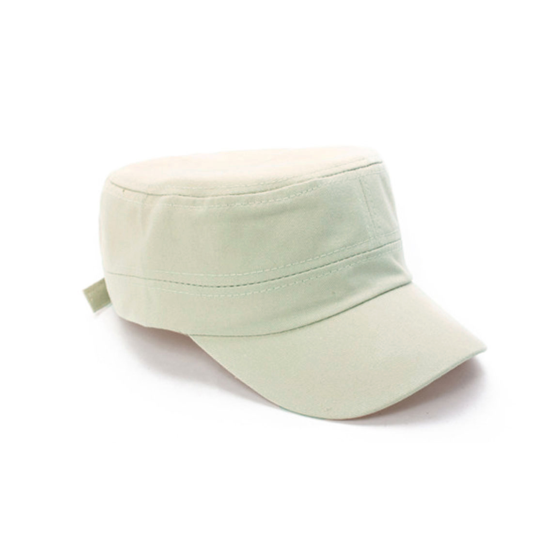 Unisex Adjustable Metal Buckle Closure Back Peaked Cap White