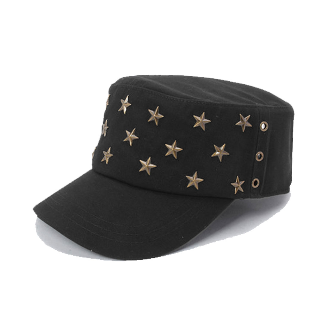 Men Women Black Metal Stars Decor Buttoned Adjustable Band Cap Hat