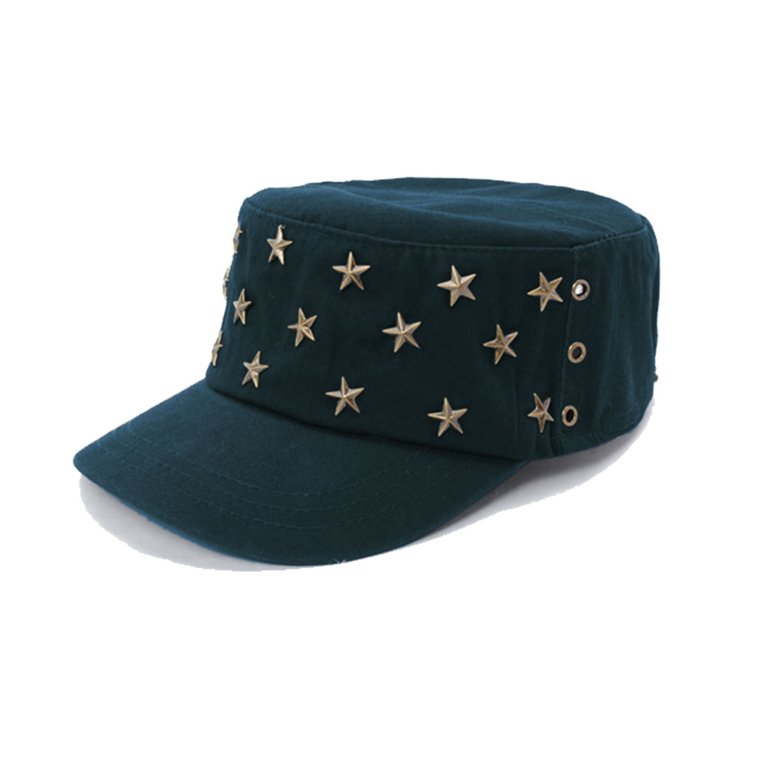 Unisex Dark Blue Gold Tone Metal Stars Decor Buttoned Band Cap