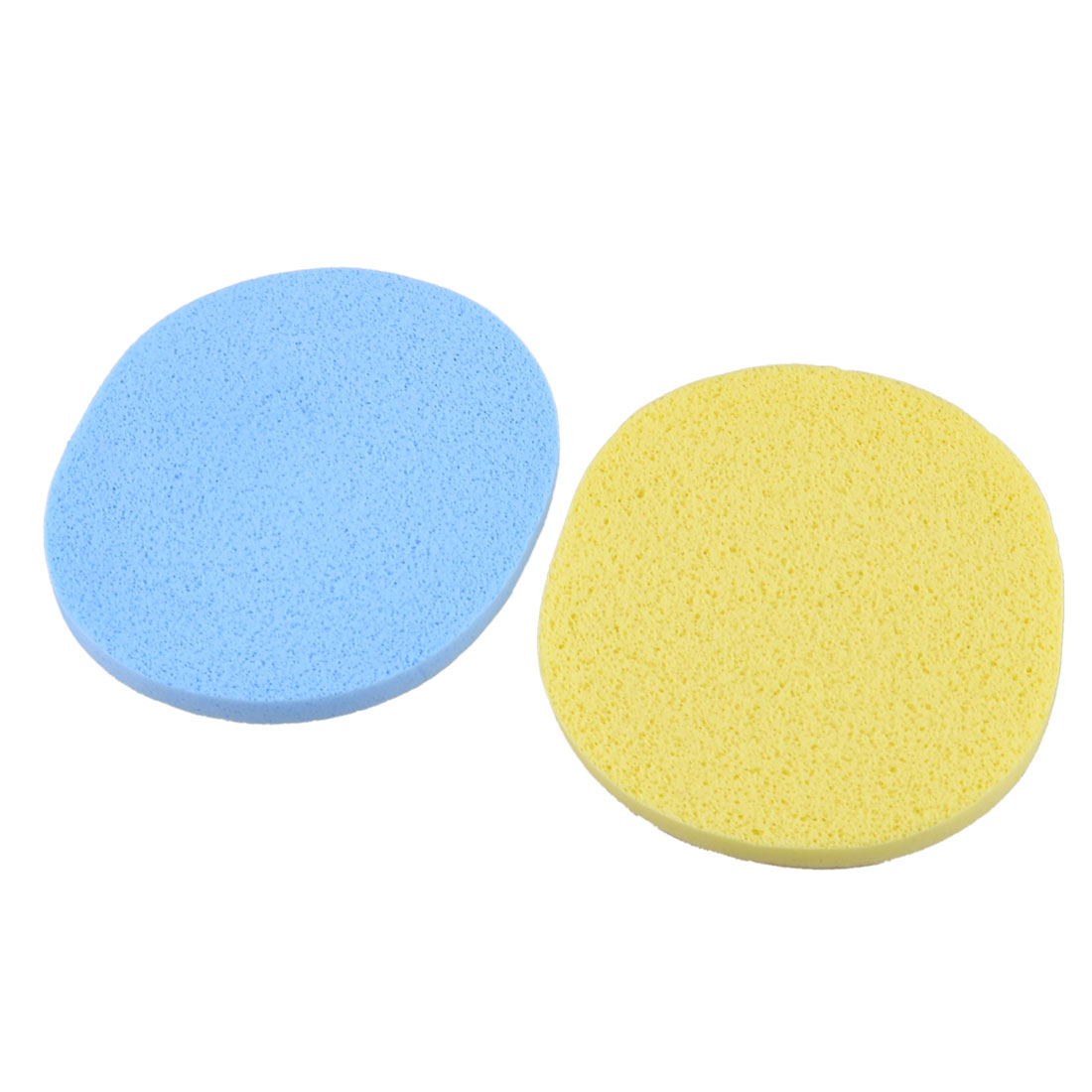 10.8cmx9cm Yellow Light Blue Oval Sponge Makeup Facial Cleaning Powder Puff 2 Pcs
