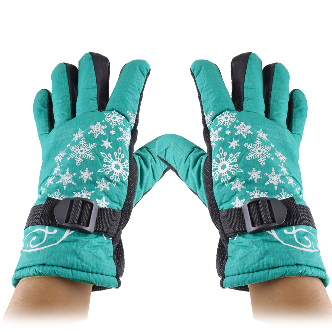 Woman Sponge Lining Snowflake Printed Winter Warm Gloves White Turquoise Green Pair