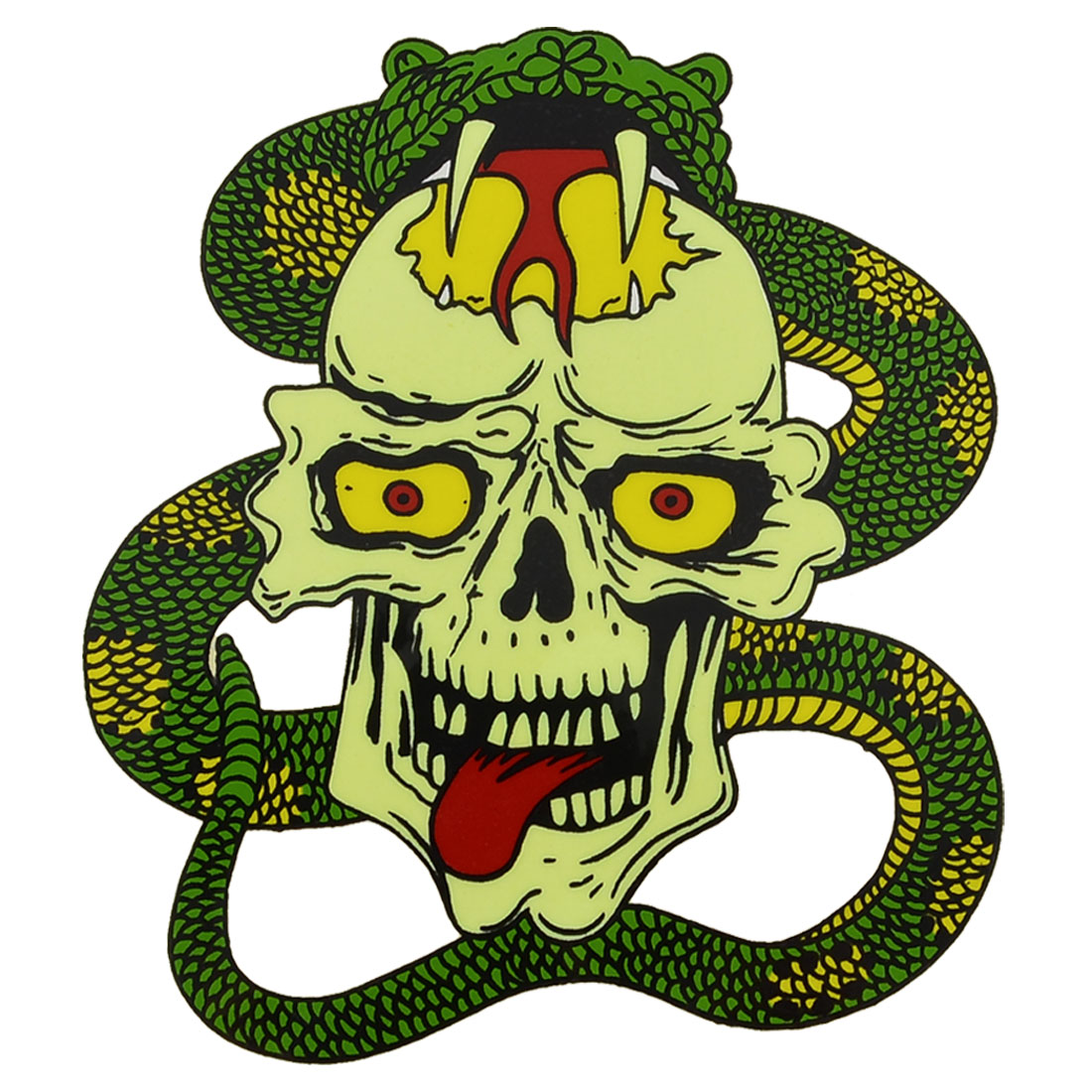 "Car Automobile Vivid Snake Skeleton Decal Sticker Decor Green Yellow 4.3""x3.5"""