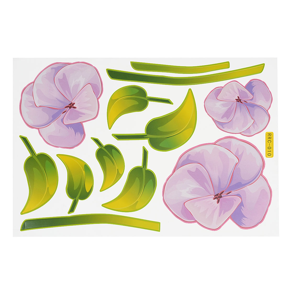 Green Light Purple Flower Leaf Print Refrigerator Wall DIY Sticker Decals Decor 12 in 1
