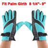 Men Man Fleece Lining Motorcycle Bike Winter Warm Gloves Black Turquoise Color Pair
