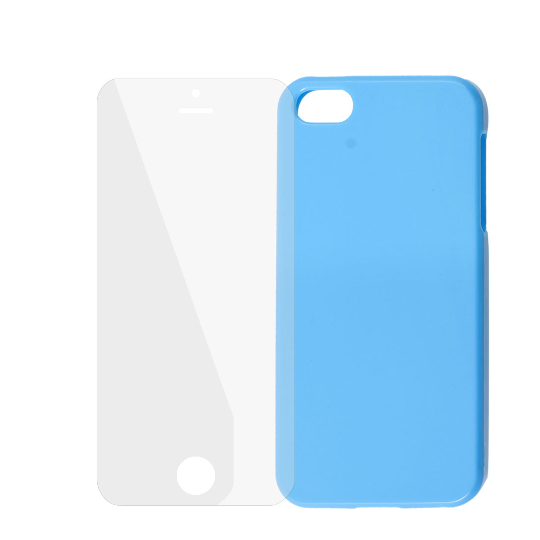 Light Blue Plastic Phone Case + Clear Screen Guard for iPhone 5G 5