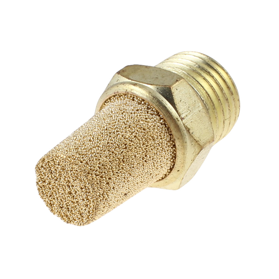 "1/4"" PT Thread Sintered Pneumatic Air Exhaust Silencer Muffler Gold Tone"
