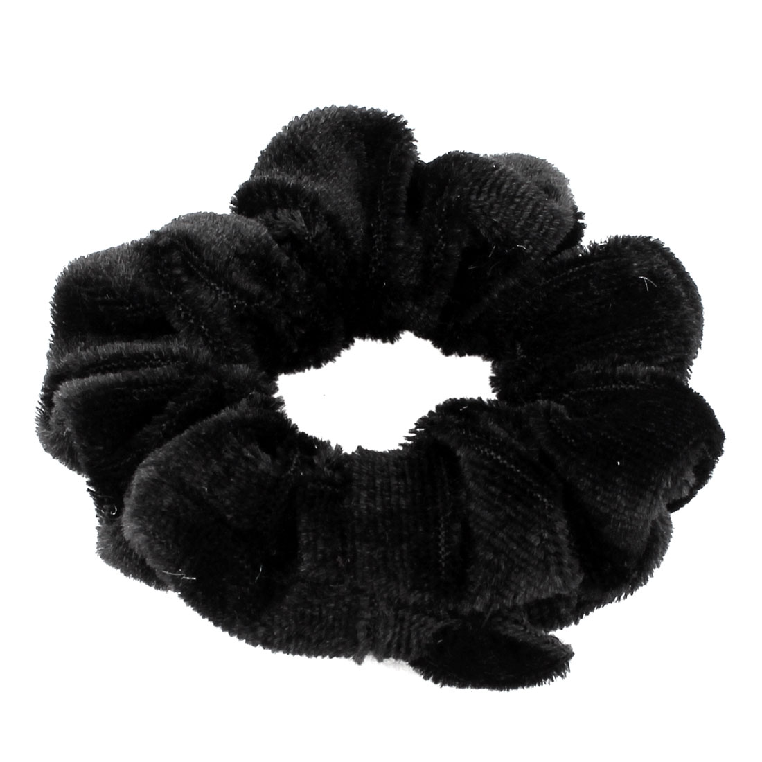Pure Black Velvet Wrap Floral Elastic Hair Band Ponytail Holder for Woman