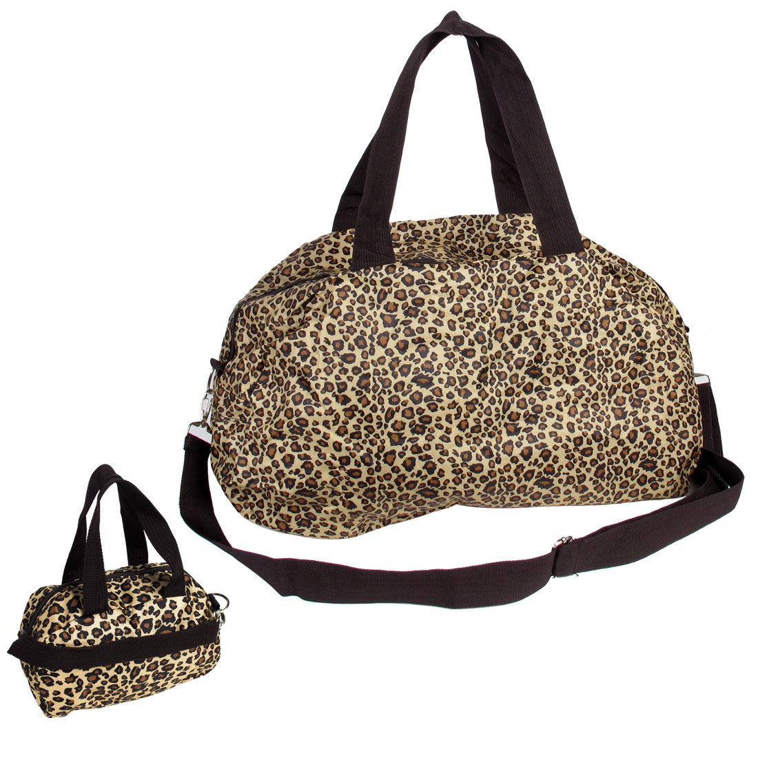 Foldable Black Beige Leopard Pattern Zippered Shopping Bag Handbag w Mini Purse