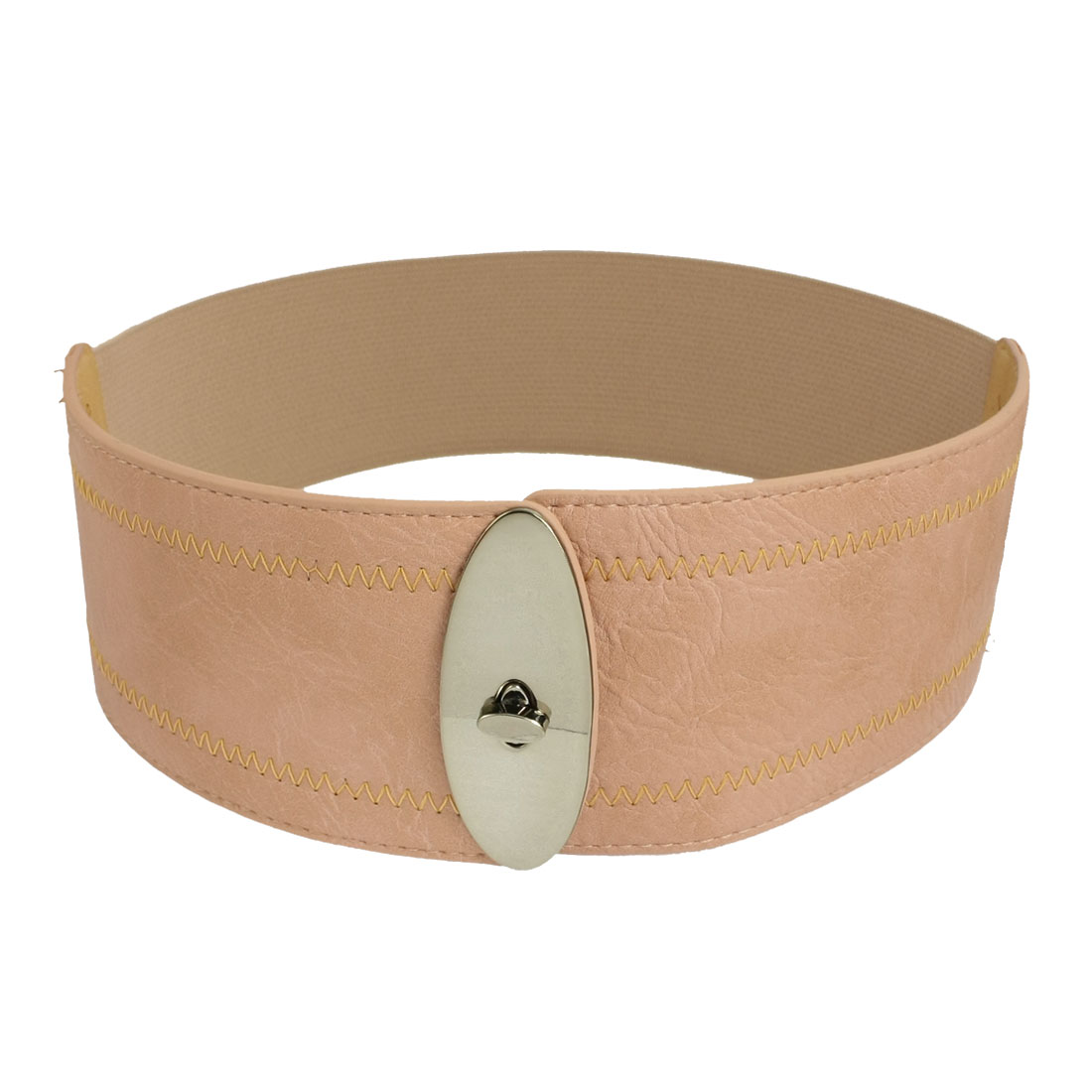 Women Metal Turn Lock Buckle Waist Belt Corset Band Cinch Pink