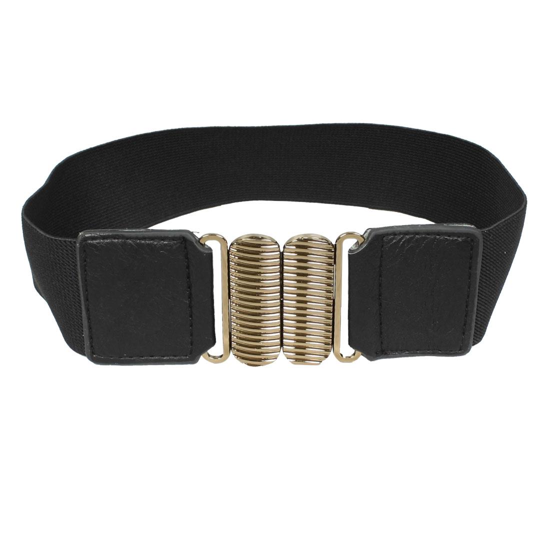 Ladies Metal Interlocking Buckle Waist Belt Corset Band Cinch Black