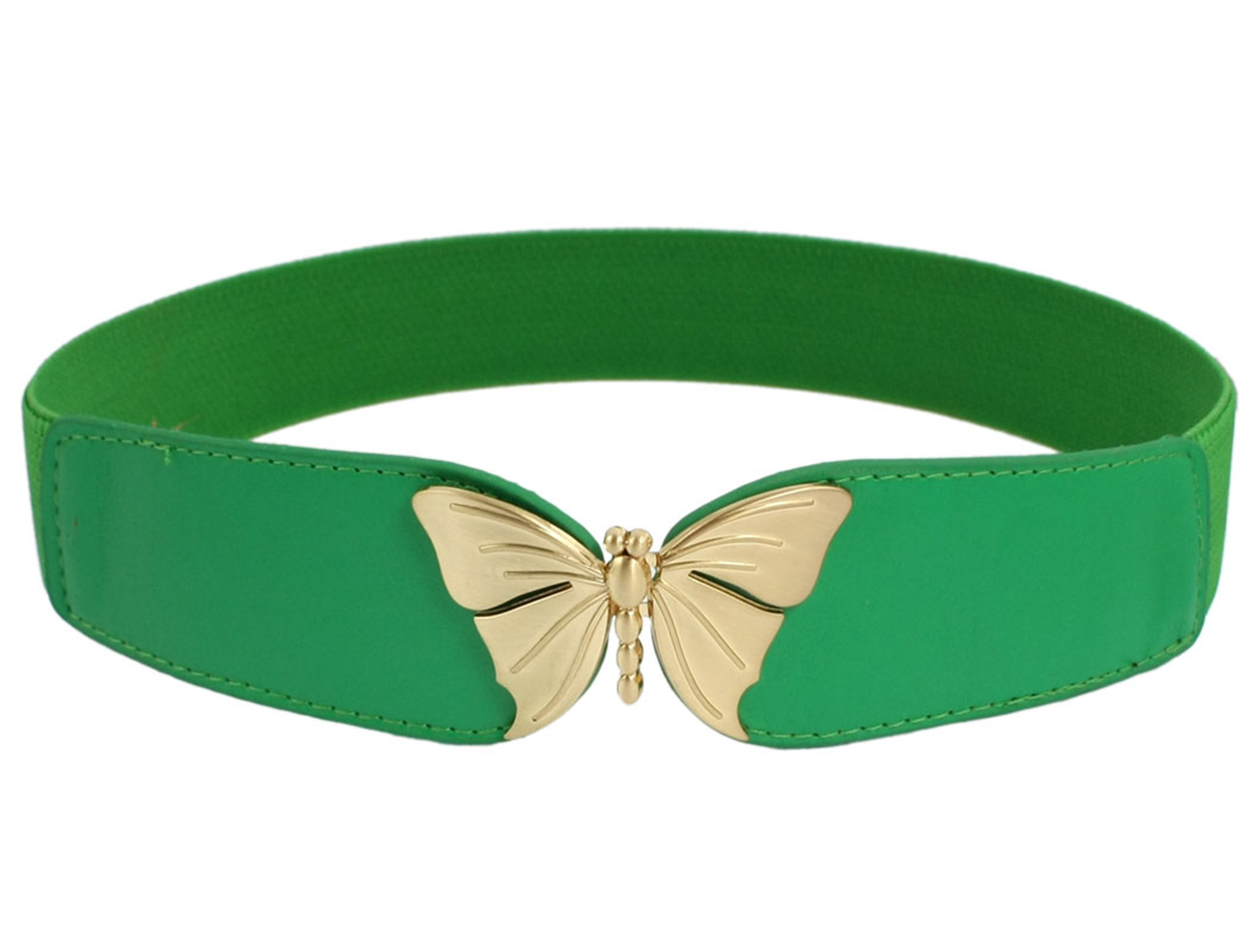 Butterfly Shape Metal Interlocking Buckle Waist Belt Waistband Green